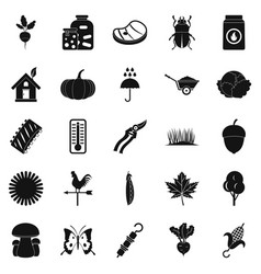 vegetable market icons set simple style vector image