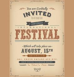 vintage festival invitation poster vector image