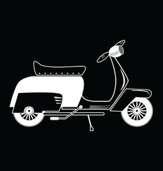 Vintage scooter type 1 in black and white on black vector image