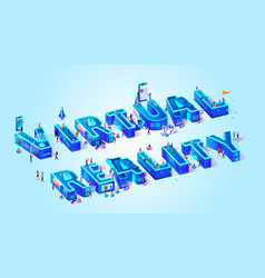 virtual reality assistance idea isometric vector image