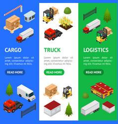 warehouse concept banner vecrtical set 3d vector image