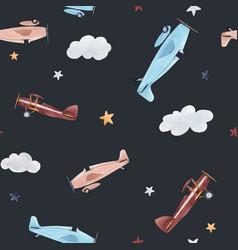 watercolor aircraft baby pattern vector image