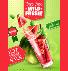 watermelon refreshments realistic poster vector image