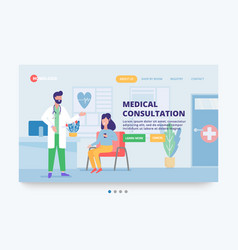website banner consultation with a doctor vector image