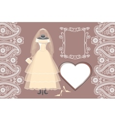 Wedding bridal dress with framelabelpaisley vector