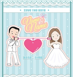 Wedding invitation card cute couple talking phone vector
