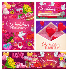 Wedding rings cake and gifts hearts and envelope vector