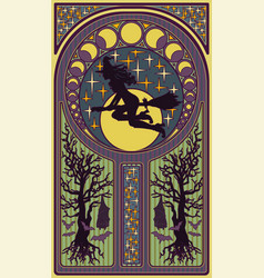 witch-girl with a moon art nouveau style card vector image