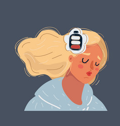 Woman feeling tired and low battery on dark vector