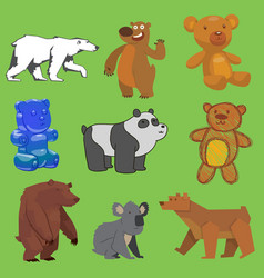 bear set wild animal different style flat vector image vector image