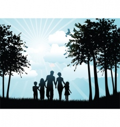 family walking silhouette vector image vector image