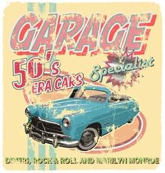 garage 50 era cars vector image