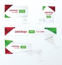 Origami 2 color style label set Christmas style vector image vector image