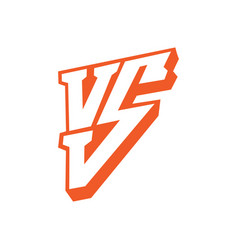 versus letters logo red letters v and s flat vector image