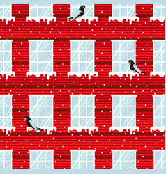 windows seamless pattern and red wall vector image
