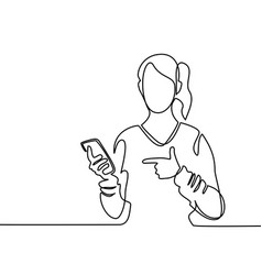 Woman holding mobile phone and pointing finger vector
