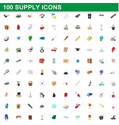 100 supply icons set cartoon style vector image