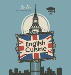 Banner restaurant french cuisine with eiffel tower vector