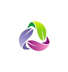circle colorful leaf organic logo vector image vector image