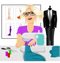 dressmaker woman using sewing machine vector image