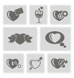 icons with symbols of Valentine Day vector image