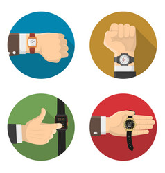 Men watches 4 round flat icons vector