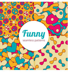 funny seamless patterns set vector image