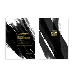 black abstract design ink paint on brochure vector image vector image