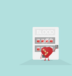 cartoon heart buy blood from vending machine vector image