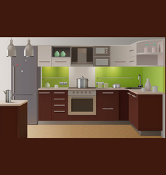 colored kitchen interior vector image