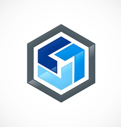 polygon geometry circle software logo vector image