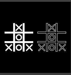 tic tac toe game icon set white color flat style vector image vector image