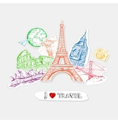 Travel paper stickers set vector