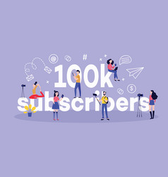 100k subscribers horizontal banner with various vector
