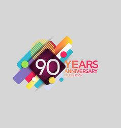 90 years anniversary colorful design with circle vector