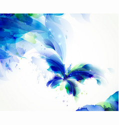 abstract butterfly with blue and cyan blots vector image