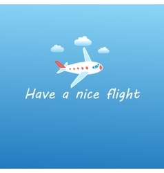 Airplane flying in sky with clouds vector