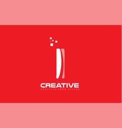 Alphabet letter i red technology white logo vector