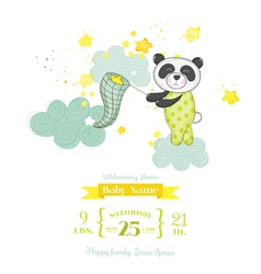 Baby Shower Card - Baby Panda Catching Stars vector