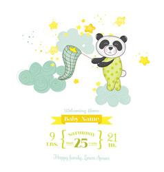 Baby shower card - panda catching stars vector