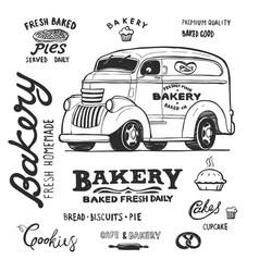 bakery food truck hand draw doodles style van vector image
