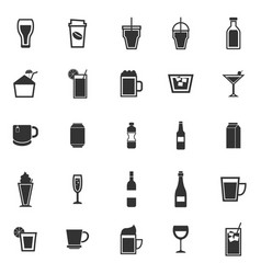 Beverage icons on white background vector