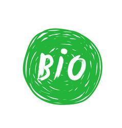 Bio title brush stroke green badge design element vector