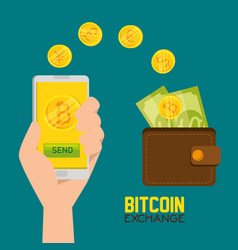 bitcoin virtual currency and wallet with bills vector image