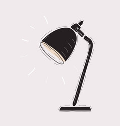 black table lamp on white on white vector image