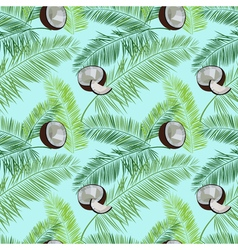 Blue coconut seamless pattern Coconut palm leaves vector