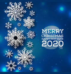 blue merry christmas background vector image
