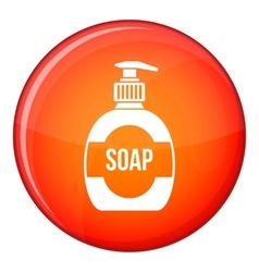 Bottle of liquid soap icon flat style vector
