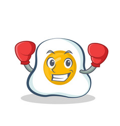 Boxing fried egg character cartoon vector
