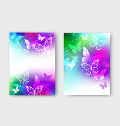 bright design with white butterflies vector image